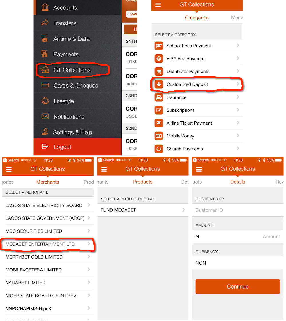 GTBank App instructions for Megabet