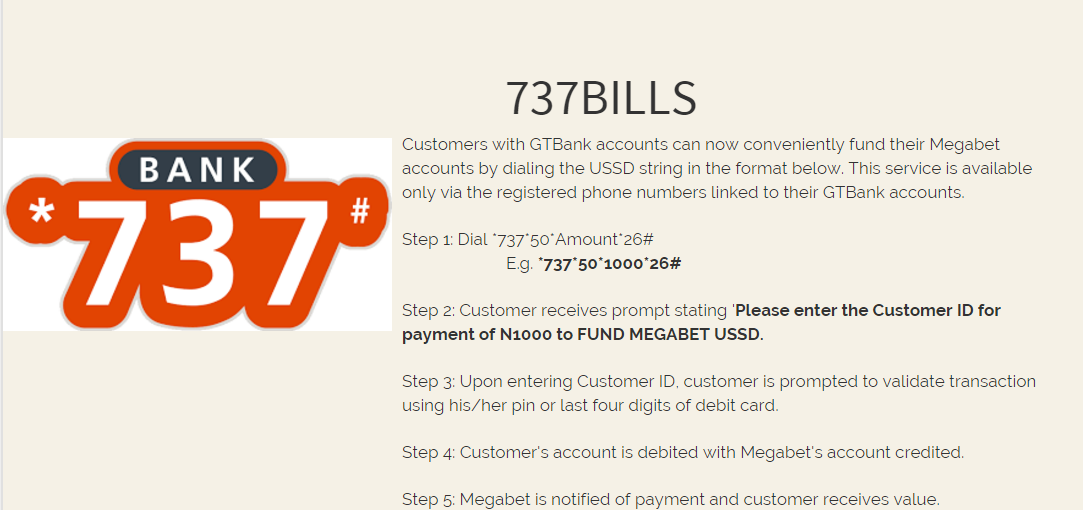 GTBank 737 instructions for Megabet